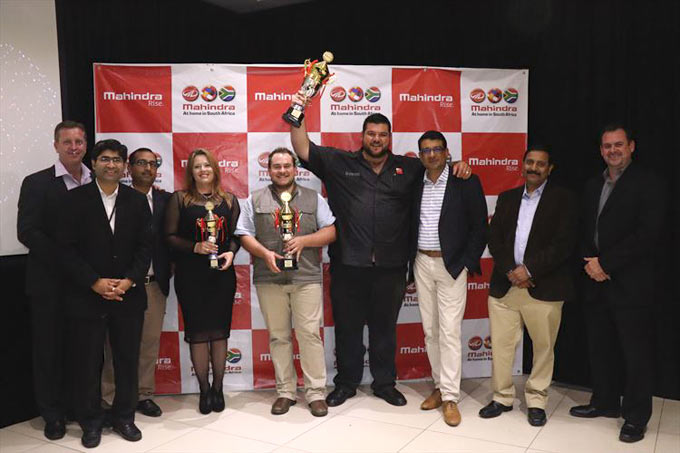 The winning dealers. From left: Hans Greyling, national head of sales for Mahindra South Africa, Avinash Bapat, Chief Financial Officer, Mahindra, Pratyush Bose, head of the Mahindra South Africa After Sales division, Leoni Nicholas, dealer principal Mahindra Brits, Franco Kalp, dealer principal Mahindra Pretoria North, John-William Vosloo, past dealer principal of Mahindra Montana, Rajesh Gupta, CEO of Mahindra SA, Pavan Nair, head of new business development and Jacques Mellet, head of logistics for Mahindra SA.