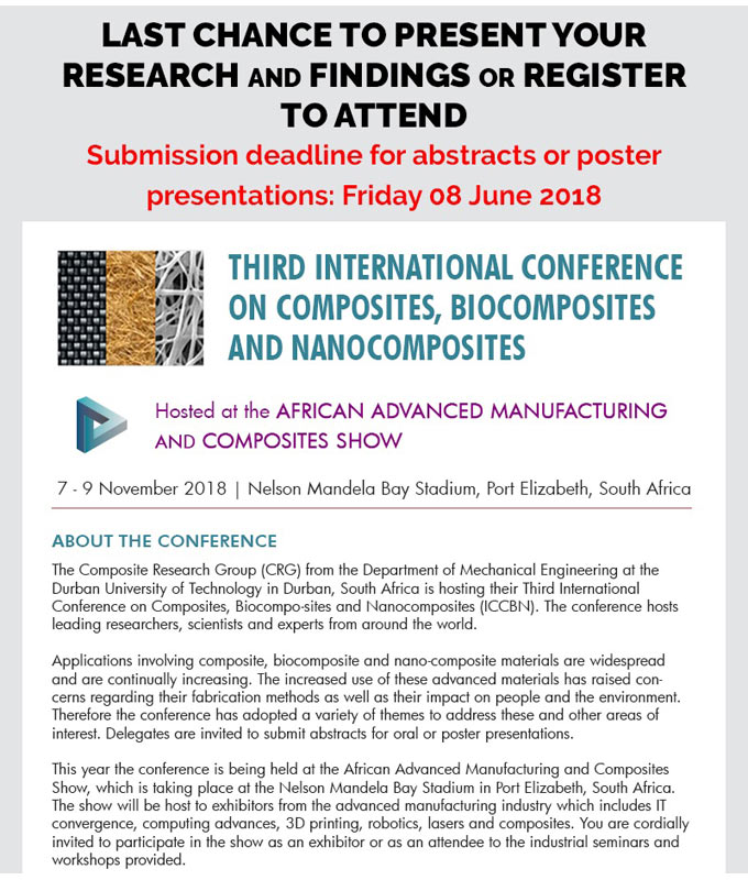 Call for Conference Papers: International Conference on Composites, Biocomposites and Nanocomposites