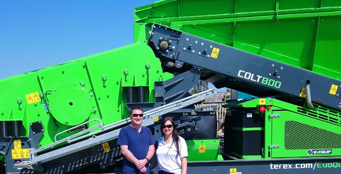 Martin Conway, international sales manager for EvoQuip and Janita Grobbelaar of ELB Equipment