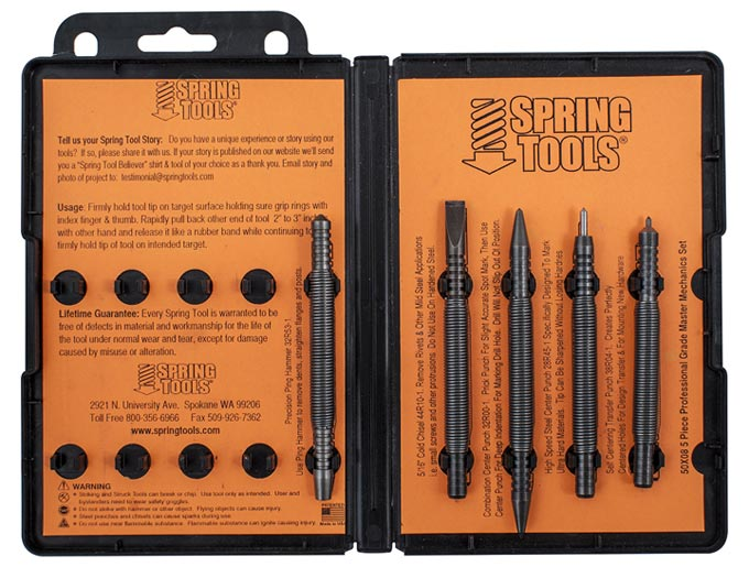 Spring tool sets, Pin Punches, Metalworking, Woodworking, and the Master Mechanic set