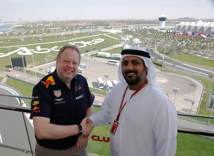 Dr Andy Palmer, Aston Martin Lagonda President and Al Tareq Al Ameri, Chief Executive Officer Yas Marina Circuit