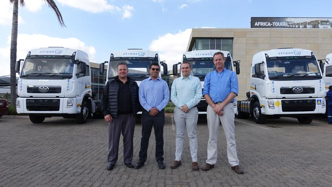 Eugene van der Berg (Regional General Manager FAW SA), Darren Da Silva (COO of Strauss Logistics Zimbabwe), Wayne Greenwood (Managing Director of Choice Diesel Mozambique) and Trevour Bester (Sales, Marketing & Road Operations of Strauss Logistics Zimbabwe).