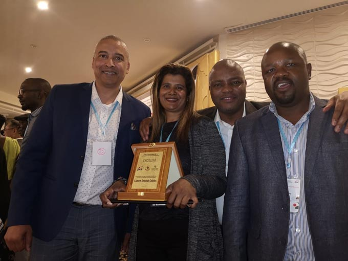 The Winning Team:  AIDC CEO Mr. Lance Schultz, Rachael Gounden ,Lumen Special Cables representative, Mr. Nkumbizi Ben-Mazwi and Mr. Sydney Theko fromthe AIDC's Supplier and Enterprise Development Department.