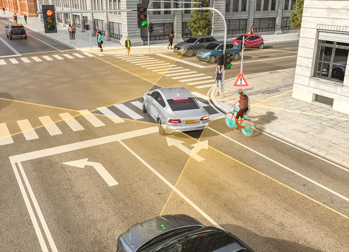 Safe Turning: Right-Turn Assist System for Passenger Cars from Continental Protects Cyclists and Pedestrians