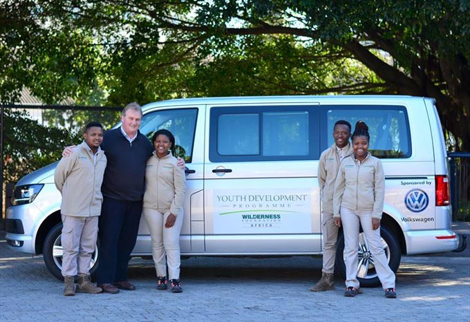 Volkswagen Group South Africa remains committed to empowering the youth, through supporting Wilderness Foundation Africa and its various programmes. Pictured with the Foundation's sponsored Volkswagen Kombi is (from left) Mandilakhe Twani, Wilderness Foundation Africa CEO Dr Andrew Muir, Gcobisa George, Thabiso Malao and Akhona Magadla. Photo: Alicia Essop