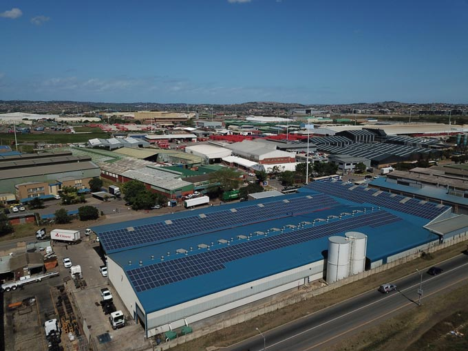 Solar power panels have been installed on the roof of Serco's Durban truck and trailer building factory allowing the premises to be off the grid during the day.