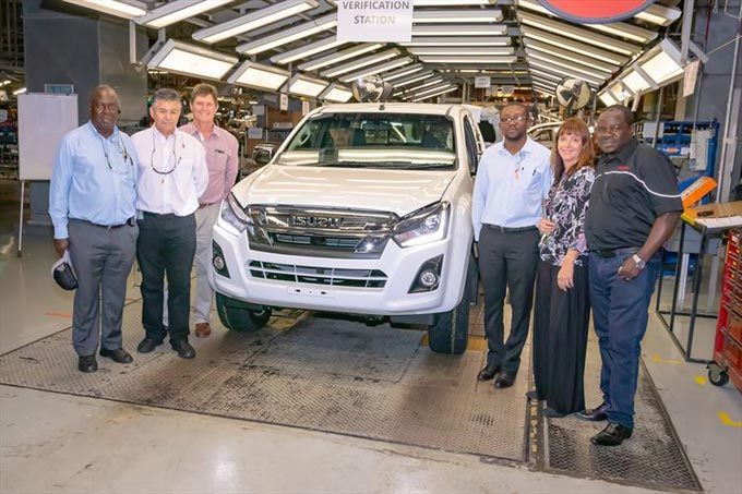 Visiting the Isuzu production plant are from left Dr Dawson Mareya, MD of Willowvale Motor Industries, Johan Vermeulen, Isuzu Executive Manufacturing and Supply Chain, Sean Waller, Autoworld Dealer shareholder, Honourable Minister Nqobizitha Mangaliso Ndhlovu, Zimbabwean Minister of Trade and Industry, Denise van Huyssteen, Executive Corporate Affairs, Business Strategy and Legal and Paul Chenierayi Autoworld Dealer shareholder.