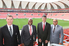 Celebrating today's announcement are from left, Charl Crous, Chief Operations Officer of the Isuzu Southern Kings, Loyiso Dotwana, chairman of the business consortium, Michael Sacke, CEO and MD of Isuzu Motors South Africa and Gary Markson, one of the consortium partners.