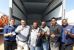 Pictured at the handover of the new Bakers SA Ltd vehicle are from left to right Clinton Holcroft, Aman Kader, Farouk Bhadu, Ismail Khan, Mohammed Noushad Cassim and Trivolan Pillay.