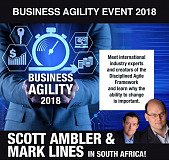 Come and see Scott Ambler & Mark Lines live in South Africa at IndigoCube's Business Agility Event