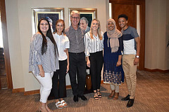TATA International in Africa, CEO Len Brand with scholarship recipients from the University of the Free State