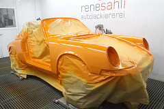 Classic car restoration: a bright orange show stopper