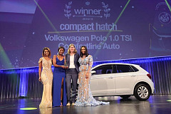 Compact Hatch Category - Polo. L - R: Host Pearl Modiadie, Siyanga Madikizela: Volkswagen PR Manager, Martina Biena: Head of the Volkswagen Brand and host Minnie Dlamini-Jones.
